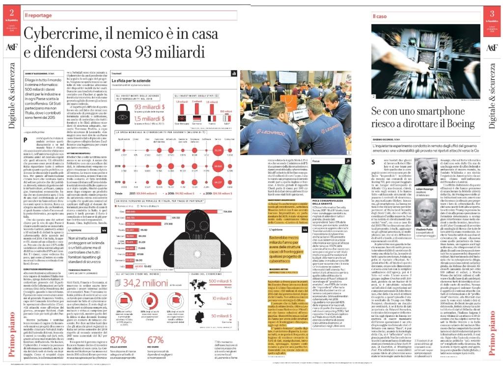 Estratto dell'intervista a Massimo Artini pubblicata sull'inserto Affari e Finanza de La Repubblica del 24 dicembre 2018.